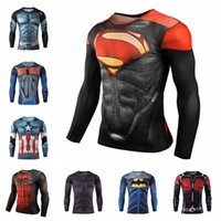 Wholesale shirt ironing resale online - Superman Compression Shirt Styles Quick Dry Iron Man Fitness Clothing Bodybuilding Men Crossfit Home Clothing OOA5624