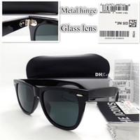 eski menteşe toptan satış-EN Kaliteli G15 Cam Lens Metal Menteşe Marka Tasarımcısı Erkek Kadın Tahta Çerçeve Güneş Gözlüğü UV400 52 MM Kutusu Ile 54 MM Vintage Güneş Gözlükleri vaka