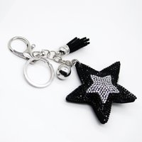 Wholesale surprise gift for girls online - Fashion PU leather star rhinestone tassel key chain surprise gift for family