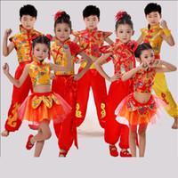 traje de niño chino al por mayor-Traje de danza tradicional china, niños dragón, trajes de danza folclórica, hanfu moderno para niñas, león nacional para niños