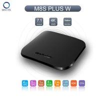 quads preise großhandel-M8S Plus W Mecool Android 7.1 TV-Box 1G8G Quad Core Amlogic 2,4G WiFi 4K intelligenter IPTV-Mediaplayer-Großhandelspreis