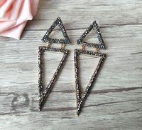 schwarzes dreieck baumeln ohrringe großhandel-Handgemachte sparkly ebnen schwarzen Strass Kristall Doppel-Dreieck wunderschöne baumeln Charms Ohrringe, Modeschmuck für Frauen ER359