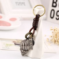 Wholesale vintage leather key ring resale online - Alloy Conch Shell Key Chain Keychain Leather Vintage Key Chains Jewelry Bag Charm Pendant Car Key Ring Holder Punk Gift Llaveros