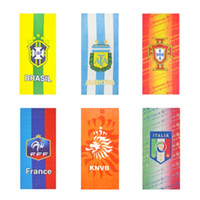 Wholesale Wholesale Sports Signs - 2018 FIFA Russia World Cup Football Team Sign Design Bath Towel Soccer Theme Fans Favor Washcloth For Sports Sweat Absorb 25xq Z