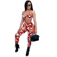 комплекты нарядов оптовых-Camo Sexy Two Piece Set Crop Top and Pants Suits Matching Sets 2pcs Camouflage Tracksuit Streetwear Women Summer Outfits