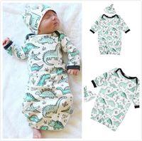 Wholesale dinosaur baby clothes resale online - 2018 Hot Sale Baby Cartoon Dinosaur World Long Sleeve Sleep One piece Bag with Hat Child Sleeping bag Two Sets Unisex Newborn Children Wear