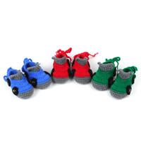 tığ kıyafetleri bebekler toptan satış-Bebek ilk yürüteç Karikatür Araba Bebek Erkek Ayakkabı El Yapımı Tığ Patik Yumuşak Sole Bebek Moccasins 10 cm ayakkabı ücretsiz kargo