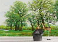 pintura cenário venda por atacado-Papel de parede aves flores 3D floresta verde alces pássaro fundo pintura de parede bonita cenário papéis de parede