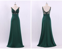 Wholesale evening dress thin straps - Free Shipping High Quality Work Evening Dress Elegant Shoulder Thin Large Dark Green V Sexy High Waist A Word Dress Long Party Dresses