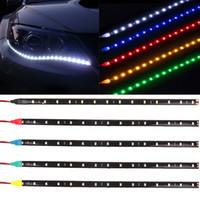elektrik şeritleri toptan satış-Su geçirmez Araba Oto Dekoratif Esnek LED Şerit Yüksek Güç 12 V 30 cm 15SMD LED Gündüz Çalışan Işık Şeridi DRL CLT_20N