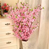 Wholesale blossom homes for sale - Group buy 20pcs cm Artificial Flowers Peach Blossom Simulation Flower For Wedding Decoration fake Flowers Home Decor
