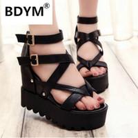 Wholesale bow wedge sandals - Fashion Sandals Summer Wedges Women's Sandals Platform Lace Belt Bow Flip Flops open toe high-heeled Women shoes Female 9909W