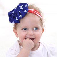 Wholesale American Flag Hair - Fashion American flag headband rabbit ears knot headband with American flag hair accessory with Gai bow popular Hair Accessories FF0205002