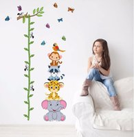 ingrosso adesivi 3d vivaisti-Cute tigre animali stack altezza misura adesivi murali decalcomania bambini adesivo vinyl wallpaper murale baby girl boy room nursery decor