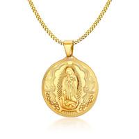 18k tanrı mücevher toptan satış-45 MM anne Tanrı Kolye Kolye Altın Renk Meryem Anneler Anne Paslanmaz Çelik Hıristiyan Takı Yüksek Kalite