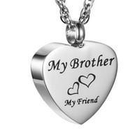 Wholesale engraved gold plate necklace - funeral and funeral jewelry engraved words my brother heart shaped plaster box pendant cremation stainless steel souvenir necklace