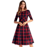 Wholesale girls hot nights dress - Promotion For Girl Prom Casual dress New Five-Sleeve Plaid Dress Wholesale Fashion Hot Free Shipping