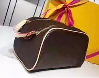 Wholesale Ruffle Pillow Case - Free shipping Wholesale designer double zipper women cosmetic bag big travel organizer storage wash bag high quality leather case