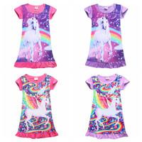 Wholesale Girls Nightgowns - Girls Unicorn Print Dress Medium Length Lace T Tshirt Skirt Baby Kids Children Dress Unicorn Cartoon Nightgown Dress 4 Color AAA108