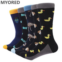 Wholesale big dog dresses for sale - Group buy MYORED pair Men s Socks combed cotton animal dog duck business dress socks funny novelty crew big wedding gift