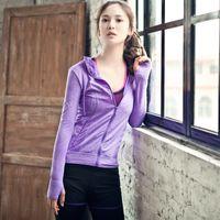 Wholesale Black Fitness Models - Female yoga fitness jacket outdoor sports running hooded zipper models women workout fitness coat