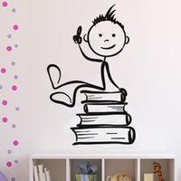 Wholesale kids sticker books - Cute Cartoon Boys Sitting On The Books Wall Stickers Children Rooms Wall Decor Mural PVC Removable