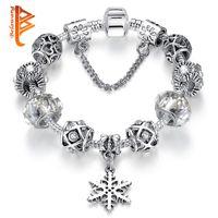 weihnachten murano perlen großhandel-925 Silber Schneeflocke Herz Charm Armbänder Armreifen für Frauen Mit Murano Glas Kristall Perlen Armband Femme Weihnachten Schmuck