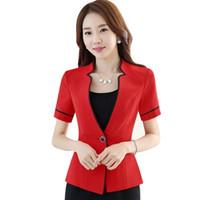 73426aaf4b009c Neue Sommerfrauen dünne Kurzhülse formale Blazer OL Mode stehen Kragen  Jacke Büro Damen plus Größe Arbeitskleidung rot schwarz