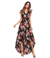 Wholesale Woman Dress Short Front - Women Long Boho Dress Summer Floral V-neck Backless Hollow Out Bohemian Dresses A-line Front Short Back Long Irregular
