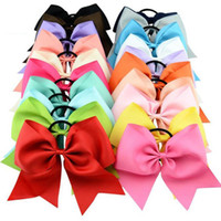 Wholesale rubber chemicals online - New arrival Inch Large Solid Cheerleading Ribbon Bows Grosgrain Cheer Bows Tie With Elastic Band Girls Rubber Hair Band Beautiful