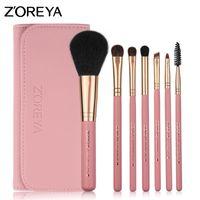 ingrosso set di spazzole zoreya-ZOREYA Make Up Brushes 7pcs Set di cosmetici per capelli Pony con borsa in pelle