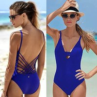 Wholesale Sexy Spandex Clothes - 2018 Blue Sexy cut out one piece swimwear swimsuit bathing suit for women hollow out monokini bodysuit woman swim clothing