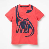 portakal boys gömlek toptan satış-Erkek Dinozor Pamuk T Shirt Çocuklar Klasik Marka Turuncu Kısa Kollu Gömlek 18 ay-6 T Çocuk Yaz Giyim