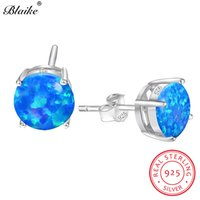 серебряные серьги синие камни оптовых-Blaike Blue Fire Opal 8MM Round Stone Stud Earrings For Women 925 Sterling Silver Birthstone Engagement Earrings Fashion Jewelry