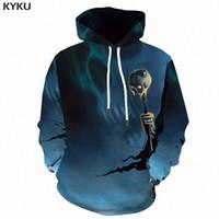 новая одежда панков оптовых-KYKU 3D Skull Hoodies Men Sweatshirt Punk  3d Print Hoodie Anime Clothes Scepter Hip Hop Mens Clothing New Streetwear