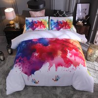 Wholesale Watercolor Splash Ink Bedding Set Handprint White Color Duvet Cover Pillowcase Twin Full Queen King Size Polyester Bedclothes