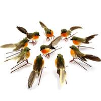 decoraciones para pájaros al por mayor-10 UNIDS Muy Lindo Robin Bird Árbol de Navidad Decoración Craft Artificial Pluma Aves Plantas Decoración Diy Craft Home Decor venta al por mayor