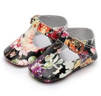 Wholesale ballet moccasins resale online - Genuine leather Floral style Baby Girls T bar Mary jane Shoes Infants Toddler baby moccasins kids Princess Ballet Shoes