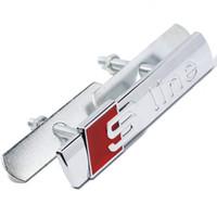 Wholesale Chrome Grille - 1Set Metal 3D Car Sticker for Audi A1 A3 A4 B6 B8 B5 B7 A5 A6 C5 Q5 Q7 SLINE Front Grille Head Decal Chrome Badge Emblem Sticker