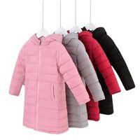 flocou para baixo casaco venda por atacado-Bebê Crianças Inverno Longo-Jaqueta Roupas Pato Para Baixo Algodão Com Capuz Casacos para Meninos Das Meninas Casaco Quente Flocking Outwear Novo