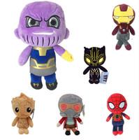 örümcek adam malzeme oyuncakları toptan satış-20 cm Marvel Avengers Peluş Oyuncaklar Demir Adam Deadpool Thanos Spiderman Çocuklar için Dolması Peluş Oyuncaklar Süper kahraman Bebek Yumuşak Oyuncak hediye