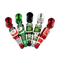 botellas de cerveza de metal al por mayor-Botella de cerveza pequeña de fumar metal tubo de mano con estilo Mini tamaño de fumar tabaco Tubos de filtro portátil quemador de aceite de tubería accesorios para fumar GGA1004