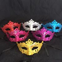 Wholesale Sequin Masks - Multi Colors Masks Masquerade Mardi Gras Props For Women Twinkle Star Glitter Sequins Half Face Mask Fashion 0 65dl B