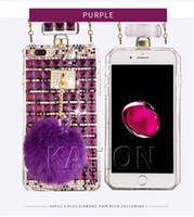 Wholesale gold rabbit iphone for sale - Perfume Bottle Diamond Case For Iphone x Plus Fashion Diamond Bling Rabbit Fur Hair Case Cover For iphone7 plus s S8 S9plus