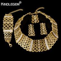 Wholesale unique women costumes for sale - Kindlegem Unique Fashion Gold Sparkling Silver Color Jewelry Sets African Beads Big Jewelry Sets For Women Best Costume Bijoux