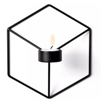 Wholesale black metal ornaments resale online - Festive Visual Touch Nordic Style D Geometric Candlestick Metal Wall Candle Holder Sconce Matching Small Tealight Home Ornaments
