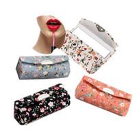 suministros para lápiz labial al por mayor-Caja de almacenamiento de lápiz labial Estampado de flores Estuche de almacenamiento de lápiz labial Bolsas de cosméticos Caja de almacenamiento de suministros de maquillaje