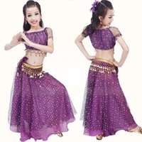 Wholesale indian costume kids online - 2016 New Children Girls Bollywood Indian Dancewear Stage Performance Kids Belly Dancing Costume Clothing Diamond Dance Wear