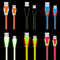 led cable оптовых-Видимый светодиодный свет Micro Micro USB-кабель 1 м 3-футовая плоская лапша Candy Color USB-кабели для Samsung S6 S7 Edge Note 2 4 HTC Android телефон