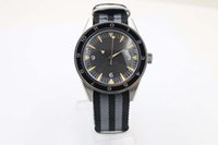 Wholesale mirrored fabric - 2018 classic luxury brand Co-axial watch transparent back cover automatic mechanical black dial sapphire mirror high quality nylon strap